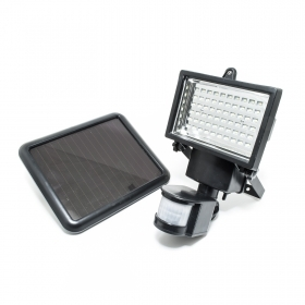 Led floodlight, external pir sensor motion solar panel external battery spotlight