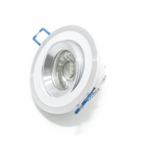 Spotlight lamp adjustable led 5w recessed WHITE SILVER 30 degrees oj hole 7cm R