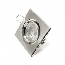Spotlight lamp adjustable 5w led gu10 recessed SILVER 30 degrees quadr hole 7cm