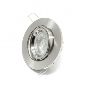 Spotlight lamp adjustable 5w led gu10 ROUND recessed SILVER 30 degree hole 8cm R