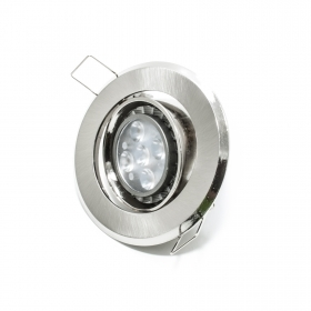 Spotlight adjustable led 5w lamp recessed ROUND GU10 SILVER 120 degree hole 7cm