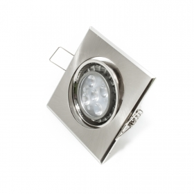 Spotlight adjustable led 5w gu10 lamp recessed SILVER 120 degrees quadr hole 7cm
