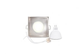 Downlight square silver waterproof