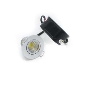 Led spotlight 3w recessed hole 45mm spot cob swivel mini silver made 30w