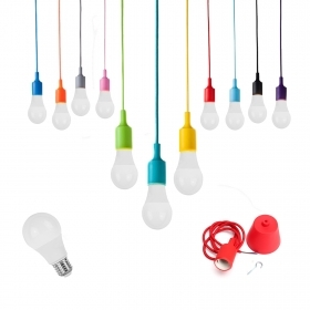 Pendant colored led cord fabric light bulb 10w a60 light chandelier suspension
