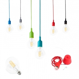 Pendant led vintage colored light bulb 6w filament g95 chandelier cord fabric