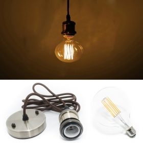 Pendant 6w led vintage retro cord fabric light bulb E27 g95 suspension bronze