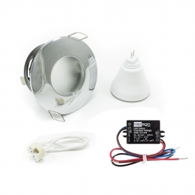 Led spotlight, recessed, for wet areas shower steam room IP65 polished chrome