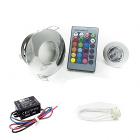 Complete Kit for shower downlight chrome ip65 led rgb 3w 12v color therapy mr16