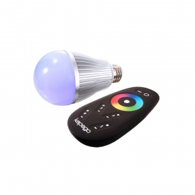 Spotlight lamp led RGB+WHITE 8W E27 220V synchronized dimmer rf controller 30 metres chromotherapy RGBW