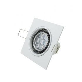 Spotlight led downlight 7w adjustable GU10 led diffused light white square 75mm
