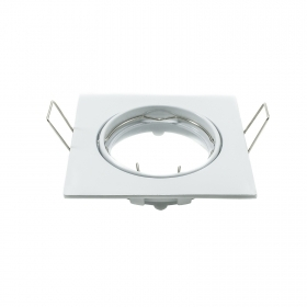 Portafaretto recessed plate door spotlight adjustable white square 75mm
