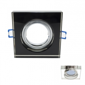 Portafaretto mirror glass flush plate door spotlight square 65mm