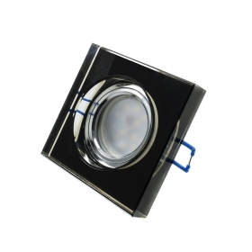 Led spotlight 7w diffused light recessed hole 65mm square frame mirrored glass