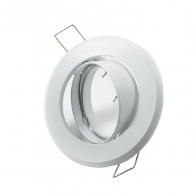 Portafaretto round flush plate white port spotlight swivel 75mm