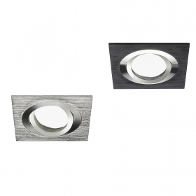 Portafaretto swivel square in aluminium brushed finish built-8cm