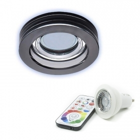 Spotlight recessed led RGBW 6w GU10 chromo frame glass mirror round 65mm