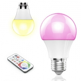 Lamp E27 LED 10W RGBW chromotherapy multicoloured games light cold white 6000K