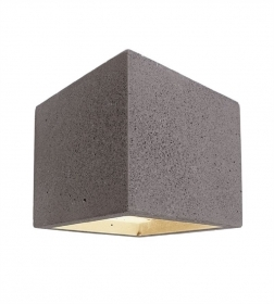 Wall sconce Led G9 cement stone cube biemissione lamp rustic wall interior