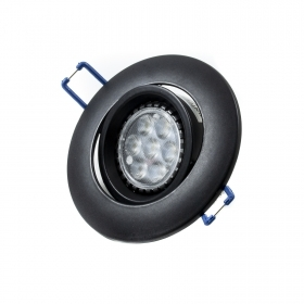 Led spotlight 7w 120 degree lamp GU10 220v recessed swivel BLACK hole 7.5 cm